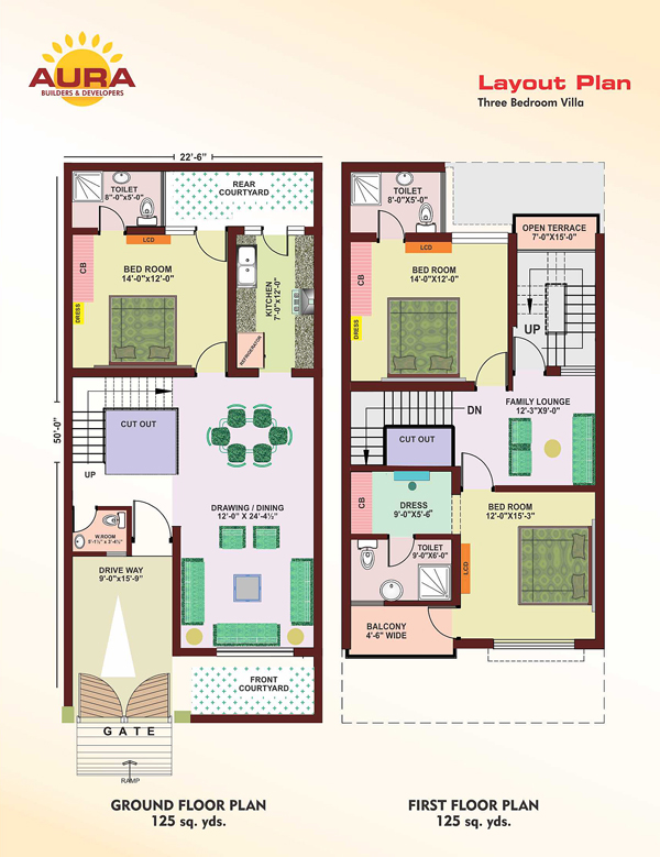 Apartment for sale mohali punjab india aura villas 3 for 120 square yards floor plan